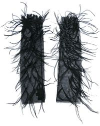 J. Mendel - Feather Embellished Mesh Evening Gloves - Lyst