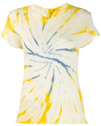 The Elder Statesman Camiseta con estampado tie-dye - Amarillo