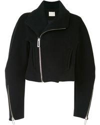 Dion Lee Cropped Wool Biker Jacket - Black