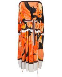Proenza Schouler Платье Кейп Marocaine С Принтом - Оранжевый