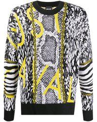 Just Cavalli Pattern-mix Crew-neck Sweater - Black