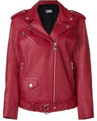 Karl Lagerfeld Байкерская Куртка Оверсайз - Красный