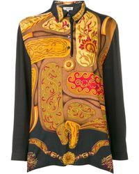 Hermès Рубашка-поло С Длинными Рукавами И Абстрактным Принтом - Черный