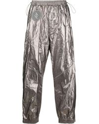 Juun.J Embroidered-patch Trousers - Metallic