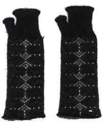 Saint Laurent Arrow Pattern Knitted Mittens - Black