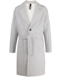 Hevò Single-breasted Belted Coat - Grey