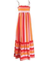 Twin Set Vestido largo con diseño colour block - Naranja