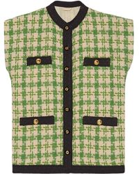 Gucci Houndstooth Gilet - Green