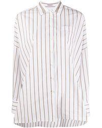 Brunello Cucinelli Рубашка Свободного Кроя В Полоску - Белый