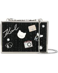 Karl Lagerfeld - Tweed Minaudiere Clutch - Lyst