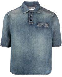 Saint Laurent - Джинсовая Рубашка Из Вареного Денима - Lyst
