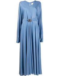 Valentino Длинное Платье С Поясом И Стразами - Синий