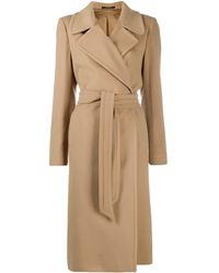 Tagliatore Long Sleeve Belted Trench Coat - Natural