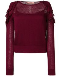 Twin Set - Ruffled Cut Out Top - Lyst