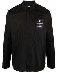 Karl Lagerfeld ロゴパッチ シャツ - ブラック