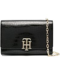 Tommy Hilfiger Lock Crocodile Clutch Bag - Black