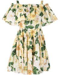 Dolce & Gabbana - Платье С Цветочным Принтом - Lyst