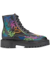Jessie Western Embroidered Combat Boots - Black