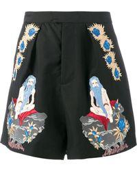 Edward Crutchley Shorts con ricamo - Nero