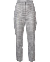 MILLY Pantalones slim a cuadros - Gris