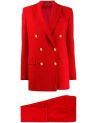 Tagliatore Jasmine Double-breasted Trouser Suit - Red