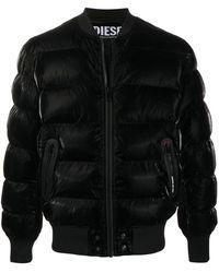 DIESEL W-on-a キルティング ボンバージャケット - ブラック