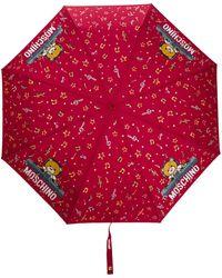 Moschino Paraguas con oso DJ - Rojo