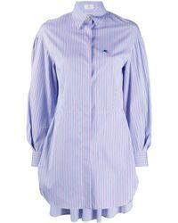 Etro Удлиненная Рубашка В Полоску - Синий