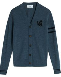 Victoria, Victoria Beckham Varsity Wool Cardigan - Gray