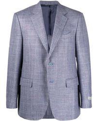 Canali チェック シングルジャケット - ブルー