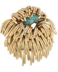 Dior Spilla decorata con turchese anni '60 - Metallizzato
