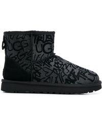 UGG ロゴ アンクルブーツ - ブラック