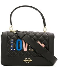 Love Moschino - Love Quilted Appliqué Top Handle Bag - Lyst