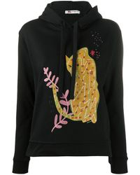 Ports 1961 Embroidered Appliqué Hoodie - Black