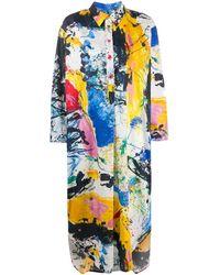 Sies Marjan Платье-рубашка С Эффектом Разбрызганной Краски - Синий
