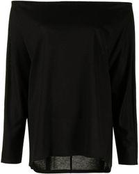 GOODIOUS オフショルダー ロングtシャツ - ブラック