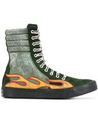 Palm Angels - Flame Appliqué Distressed Hi-tops - Lyst