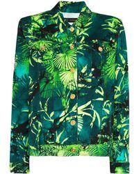 Versace Palm Print Denim Jacket - Green