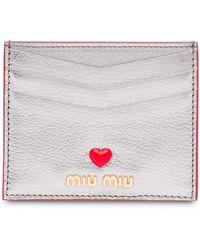 Miu Miu Liefde Logo Madras Kaarthouder - Metallic