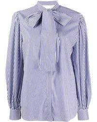 MSGM Stripe-print Pussy-bow Blouse - Blue