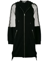 McQ - Sheer Panel Longline Zip Front Jacket - Lyst