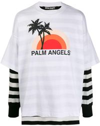 Palm Angels Layered Sunset-print T-shirt - White