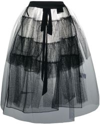 Simone Rocha Sheer Ruffled Apron Skirt - Black