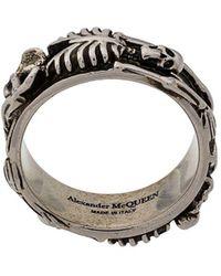Alexander McQueen Ring Met Dansend Skelet - Metallic