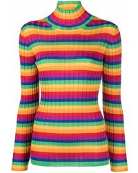 Mila Schon All Ribbed Rainbow-striped Cashmere Jumper - Yellow