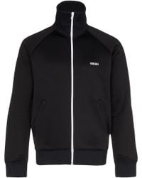 KENZO Logo Print Cotton Blend Track Jacket - Zwart