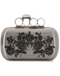 Alexander McQueen Rose-print Box Clutch - Metallic