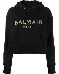 Balmain クロップド スウェットシャツ - ブラック