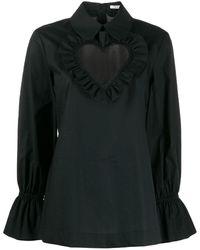 Vivetta Heart ネック ブラウス - ブラック