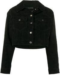 Giuseppe Zanotti Cropped Suede Jacket - Black